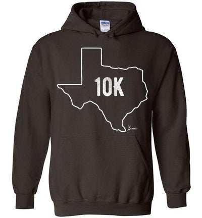 Texas Outline 10K Hoodie T-Shirt Mbio Apparel Gildan Dark Chocolate S