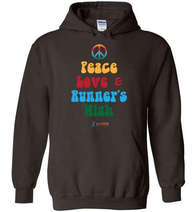 Peace, Love, and Runner's High Hoodie T-Shirt Mbio Apparel Gildan Dark Chocolate S
