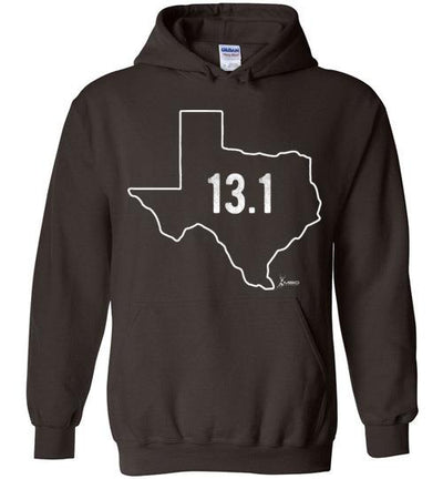 Texas Outline Half-Marathon Hoodie T-Shirt Mbio Apparel Gildan Dark Chocolate S