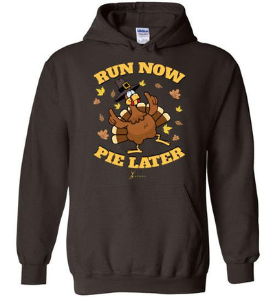 Run Now Pie Later Hoodie T-Shirt Mbio Apparel Gildan Dark Chocolate S