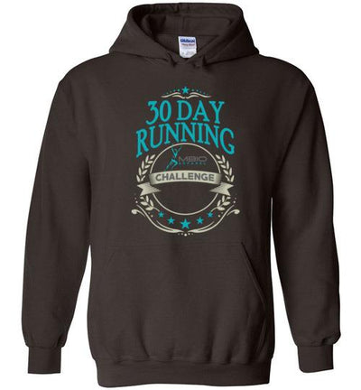30 Day Running Challenge Hoodie T-Shirt Mbio Apparel Gildan Dark Chocolate S