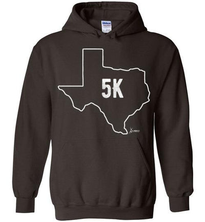 Texas Outline 5K Hoodie T-Shirt Mbio Apparel Gildan Dark Chocolate S