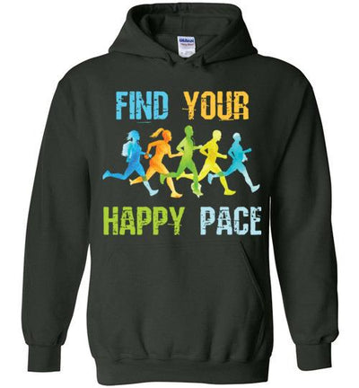 Find Your Happy Pace Hoodie T-Shirt Mbio Apparel Gildan Forest Green S