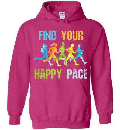 Find Your Happy Pace Hoodie T-Shirt Mbio Apparel Gildan Heliconia S