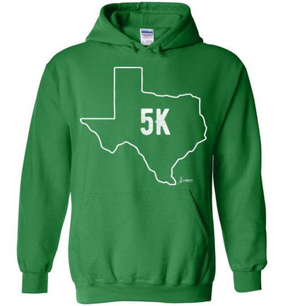 Texas Outline 5K Hoodie T-Shirt Mbio Apparel Gildan Irish Green S