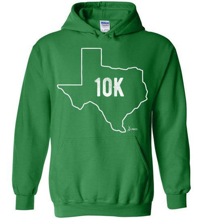 Texas Outline 10K Hoodie T-Shirt Mbio Apparel Gildan Irish Green S
