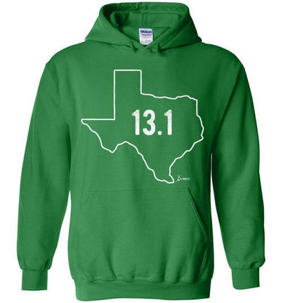 Texas Outline Half-Marathon Hoodie T-Shirt Mbio Apparel Gildan Irish Green S