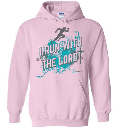I Run With The Lord Hoodie T-Shirt Mbio Apparel Gildan Light Pink S