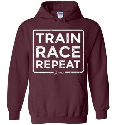 Train Race Repeat Hoodie T-Shirt Mbio Apparel Gildan Maroon S