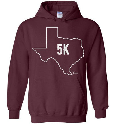 Texas Outline 5K Hoodie T-Shirt Mbio Apparel Gildan Maroon S