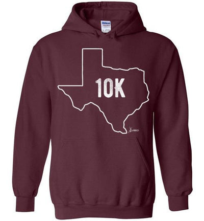 Texas Outline 10K Hoodie T-Shirt Mbio Apparel Gildan Maroon S