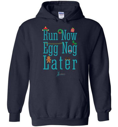 Run Now Eggnog Later Hoodie T-Shirt Mbio Apparel Gildan Navy S