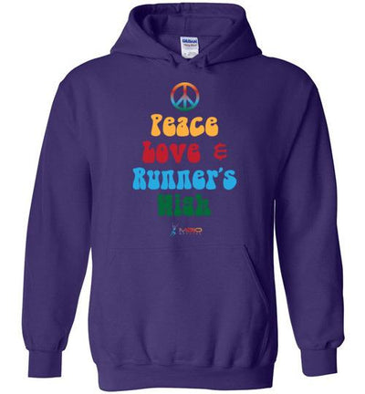 Peace, Love, and Runner's High Hoodie T-Shirt Mbio Apparel Gildan Purple S