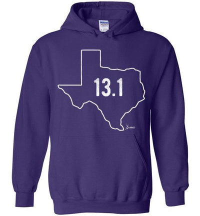 Texas Outline Half-Marathon Hoodie T-Shirt Mbio Apparel Gildan Purple S