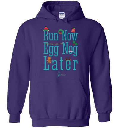Run Now Eggnog Later Hoodie T-Shirt Mbio Apparel Gildan Purple S