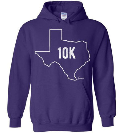 Texas Outline 10K Hoodie T-Shirt Mbio Apparel Gildan Purple S