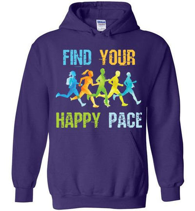 Find Your Happy Pace Hoodie T-Shirt Mbio Apparel Gildan Purple S