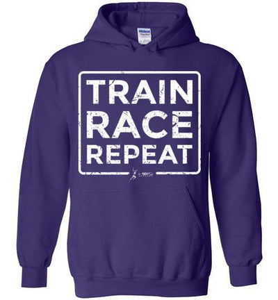 Train Race Repeat Hoodie T-Shirt Mbio Apparel Gildan Purple S