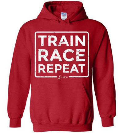 Train Race Repeat Hoodie T-Shirt Mbio Apparel Gildan Red S