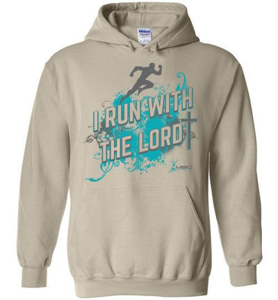 I Run With The Lord Hoodie T-Shirt Mbio Apparel Gildan Sand S