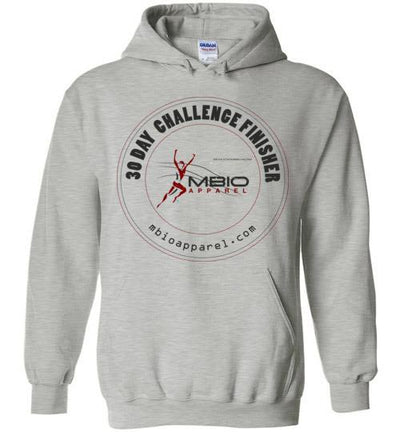 30 Day Challenge Finisher Hoodie T-Shirt Mbio Apparel Gildan Sports Grey S