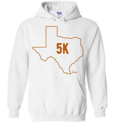 Texas Outline 5K Hoodie T-Shirt Mbio Apparel Gildan White S