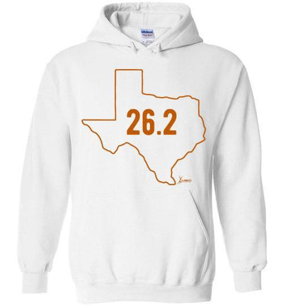 Texas Outline Marathon Hoodie T-Shirt Mbio Apparel Gildan White S