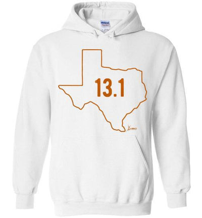 Texas Outline Half-Marathon Hoodie T-Shirt Mbio Apparel Gildan White S