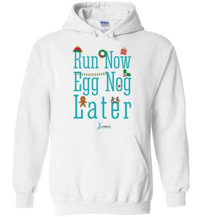 Run Now Eggnog Later Hoodie T-Shirt Mbio Apparel White S