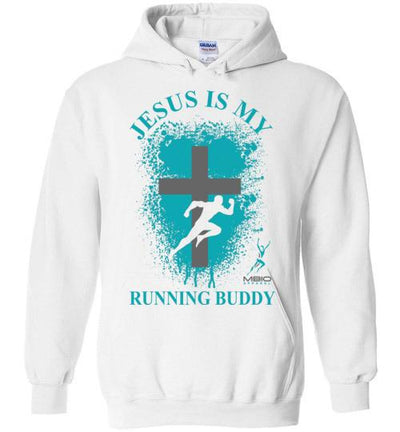 Jesus is My Running Buddy Hoodie T-Shirt Mbio Apparel Gildan White S