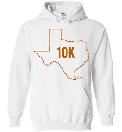 Texas Outline 10K Hoodie T-Shirt Mbio Apparel Gildan White S