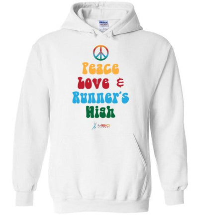 Peace, Love, and Runner's High Hoodie T-Shirt Mbio Apparel White S
