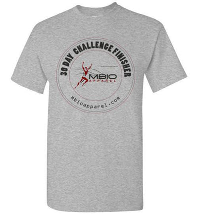 30 Day Challenge Finisher T-Shirt T-Shirt Mbio Apparel Gildan Sports Grey S