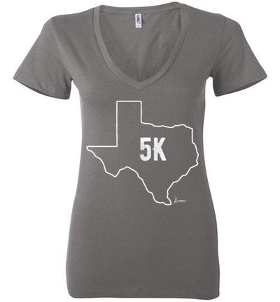 Texas Outline 5K Ladies V-Neck T-Shirt T-Shirt Mbio Apparel Bella Asphalt S