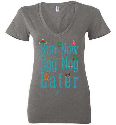 Run Now Eggnog Later Ladies V-Neck T-Shirt Mbio Apparel Bella Asphalt S