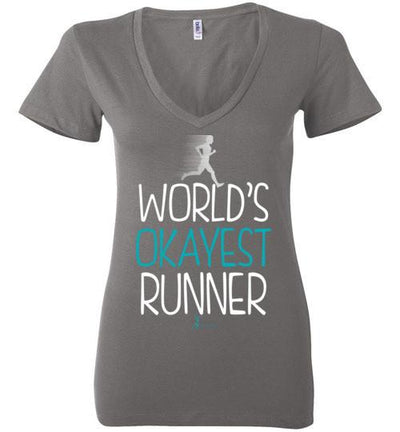 World's Okayest Runner Ladies V-Neck T-Shirt T-Shirt Mbio Apparel Bella Asphalt S