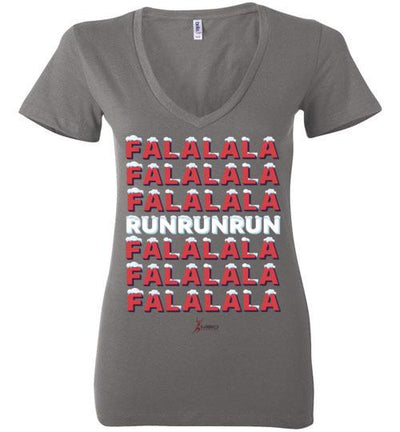 Fa La La Run Ladies V-Neck T-Shirt Mbio Apparel Bella Asphalt S