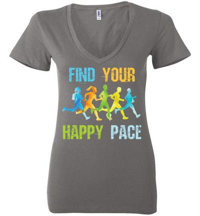 Find Your Happy Pace Ladies V-Neck T-Shirt T-Shirt Mbio Apparel Bella Asphalt S