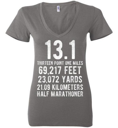 Half Marathoner Ladies V-Neck T-Shirt T-Shirt Mbio Apparel Bella Asphalt S