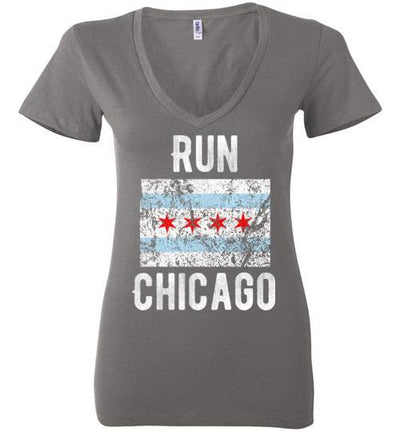 Run Chicago V-Neck T-Shirt T-Shirt Mbio Apparel Bella Asphalt S