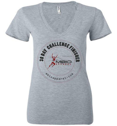 Ladies V-Neck 30 Day Challenge Finisher T-Shirt T-Shirt Mbio Apparel Bella Athletic Heather S