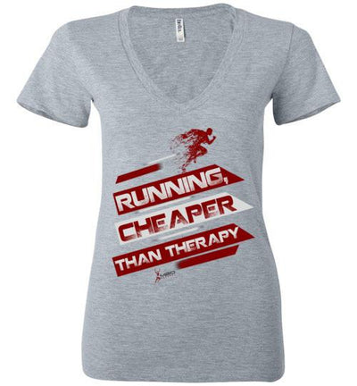 Running, Cheaper Than Therapy Ladies V-Neck T-Shirt