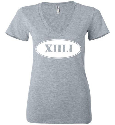 Half Marathon Roman Numeral Oval Ladies V-Neck T-Shirt Mbio Apparel Bella Athletic Heather S