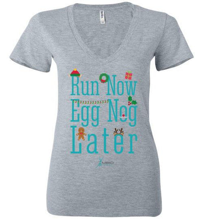 Run Now Eggnog Later Ladies V-Neck T-Shirt Mbio Apparel Bella Athletic Heather S