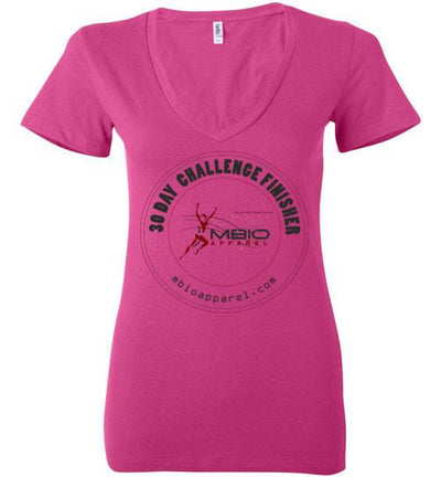 Ladies V-Neck 30 Day Challenge Finisher T-Shirt T-Shirt Mbio Apparel Bella Berry S