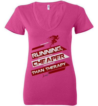 Running, Cheaper Than Therapy Ladies V-Neck T-Shirt T-Shirt Mbio Apparel Bella Berry S