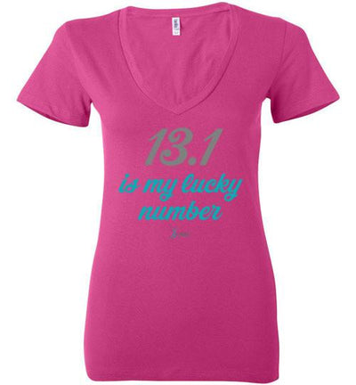 13.1 Is My Lucky Number Ladies V-Neck T-Shirt T-Shirt Mbio Apparel Bella Berry S