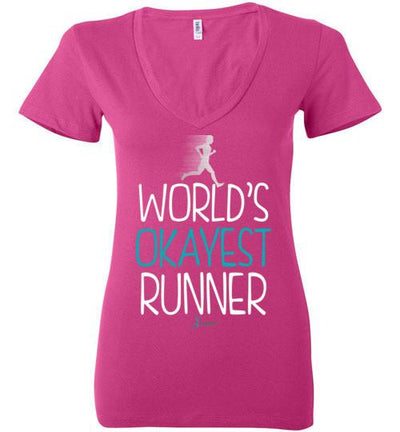 World's Okayest Runner Ladies V-Neck T-Shirt T-Shirt Mbio Apparel Bella Berry S