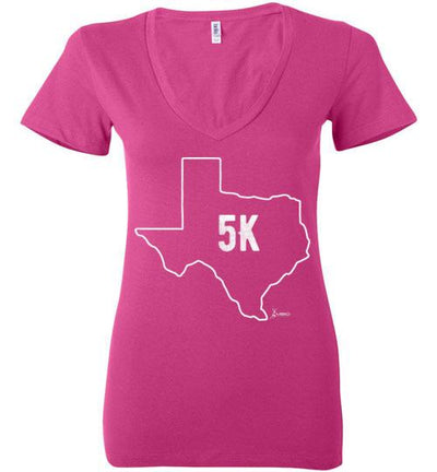 Texas Outline 5K Ladies V-Neck T-Shirt T-Shirt Mbio Apparel Bella Berry S