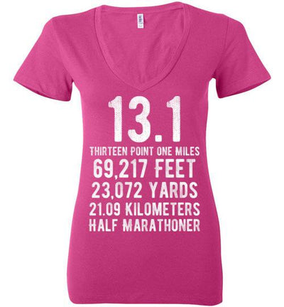 Half Marathoner Ladies V-Neck T-Shirt T-Shirt Mbio Apparel Bella Berry S
